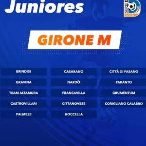 Via al campionato Juniores: il debutto è col Brindisi